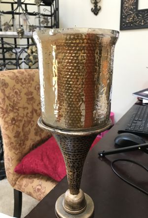 Bronze candle holder w/ candle for Sale in Grandview Heights, OH
