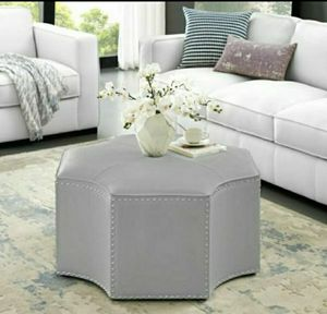 Nicole Miller Cocktail Ottoman Octagon Single Tufted in Silver Leather for Sale in Chino, CA