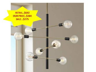 Astrid 8-Light Aged Brass Chandelier with Black Accents by Mitzi by Hudson Valley Lighting NEW for Sale in Fort Lauderdale,  FL