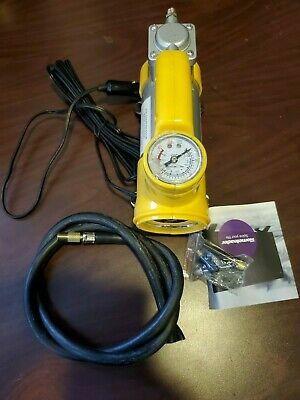 New in box Portable Air Compressor Pump 12V Multi-Use Oil Compressor Tire Pump Inflator Plugs in to cigarette lighter outlet built in flashlight for Sale in Pico Rivera, CA