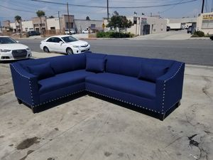 NEW 7X9FT JEOPARDY NAVY FABRIC SECTIONAL COUCHES for Sale in San Diego, CA