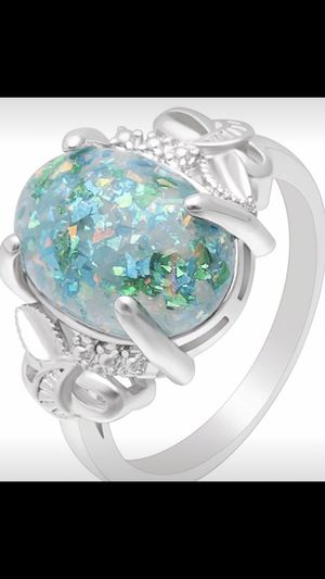 Woman's Stunning Oval Brilliant Opal Accented WHiTE Sapphire 925 Sterling Solid Silver Engagement Wedding Ring for Sale in Peoria, AZ