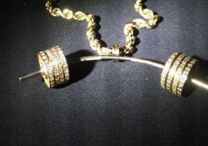 Gold diamon custom barbel necklace jewelry weights for Sale in Modesto, CA