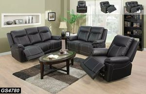New Reclining set Black Bonded leather for Sale in Kent, WA