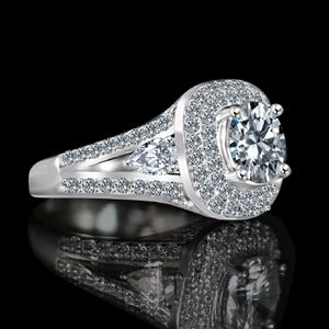 Radiant Round 2CT. Split Shank with Tiny Pear Shaped Sides Paved Halo Vintage Style Simulated Diamond - Diamond Veneer Engagement/ Wedding for Sale in San Francisco, CA
