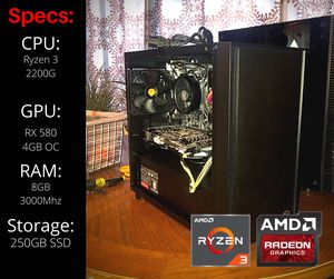PRO Competitive Gaming PC (Ryzen 3, 4K UHD RX 580, 250GB SSD) for Sale in San Leandro, CA