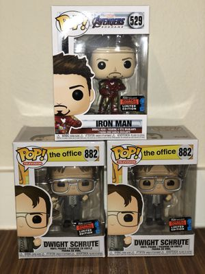 Funko POP! Marvel: Avengers Endgame - Tony Stark with Gauntlet & The Office - Dwight Holding Dwight Figure, Fall Convention Exclusive for Sale in Dallas, TX