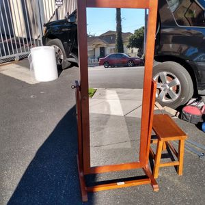 Cherry Wood mirror/Jewelry Box And Stool for Sale in Santa Ana, CA