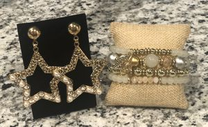 Hollow Star Diamond Fashion Earrings and Gorgeous Metal leaves Beads Bracelet for Sale in Kissimmee, FL