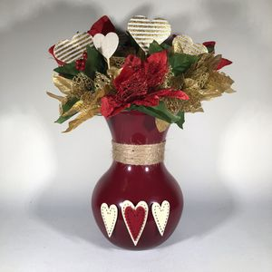 Hand Painted Maroon Flower Vase for Sale in Lancaster, PA