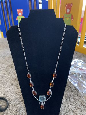Blue and orange quartz sterling silver necklace 30$ very firm for Sale in Elk Grove, CA
