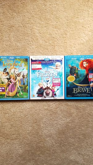 3 Disney blu-ray DVDs-Tangled, Frozen, and Brave for Sale in La Mesa, CA
