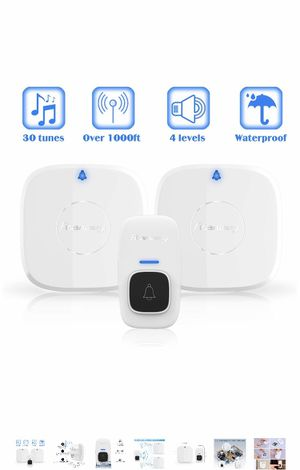 Wireless Doorbell,Rtaneey IP44 Waterproof Door Chime Kit Operating at Over 1476 ft with 2 Plug-In Receivers,4 Level Volume,Easy Set Up for Home and O for Sale in US
