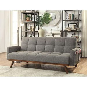 MID CENTURY MODERN GRAY FABRIC OAK FINISH FRAME FUTON SOFA ADJUSTABLE BED / SILLON CAMA GRIS for Sale in Los Angeles, CA