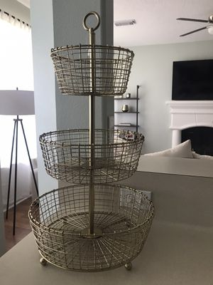 New 3 Tier Gold Crate and Barrel Fruit Basket For Home Decor Kitchen for Sale in Spring, TX