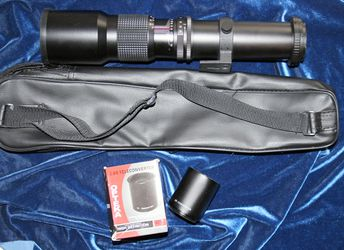 Opteka 500mm Telephoto Lens with 2x Teleconverter equals 1000mm PLUS Canon EOS camera adapter for Sale in Los Angeles,  CA