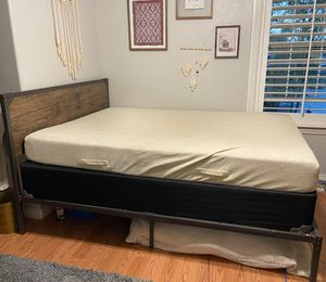 Bed frame, tempurpedic mattress, box spring, and headboard for Sale in Bakersfield, CA
