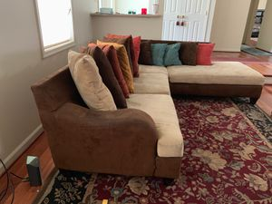 Brown Couch for sale with 14 pillows. $200.00 for Sale in Severn, MD