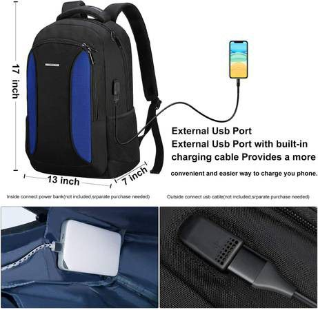 Brand New Laptop (up to 15.6in) Backpack Bag Water Resistant with USB Port