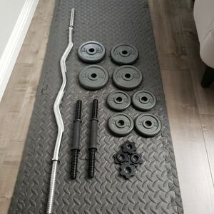 Standard CURL Bar Chromed & CAP Barbell 40-Pound Cast IRON Dumbbell Set (Weights Set Has 34LB of Weight Plates) for Sale in El Monte, CA
