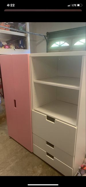 Pink closet and white shelves and drawers for Sale in Seal Beach, CA