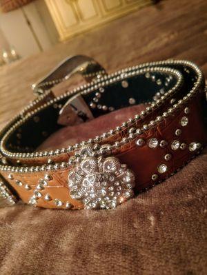 Women Crystal Rhinestone Western Leather Belt for Sale in Pleasant Hill, IA