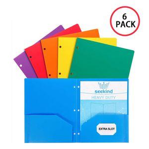 SEEKIND 2 Pocket Folders Heavy Duty Plastic Folders with 3 Hole for Letter Size Paper School Folders Assorted Colors 6 Pack for Sale in San Francisco, CA