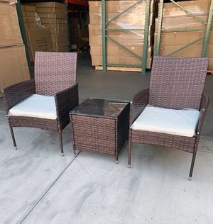 "New $130 Small 3pcs Wicker Ratten Patio Outdoor Furniture Set (Seat size 19x19"") Assembly Required for Sale in Pico Rivera, CA"