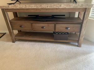 Marble top TV Stand rustic reclaimed wood style for Sale in San Diego, CA