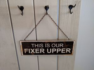 New Hanging Wall Door Entryway Sign - This Is Our Fixer Upper - Metal Wall Sign with Hanging Chain for Sale in Red Oak, TX
