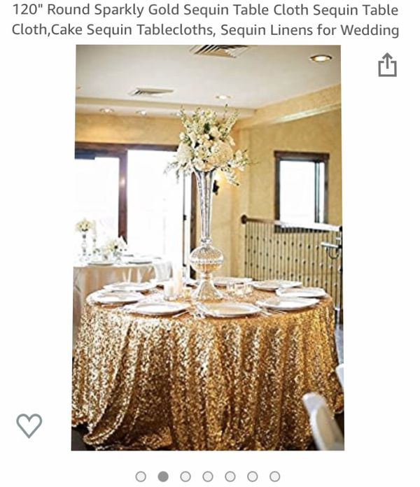 """120"""" Round Sparkly Gold Sequin Table Cloth Sequin Table Cloth,Cake Sequin Tablecloths, Sequin Linens for Wedding"""