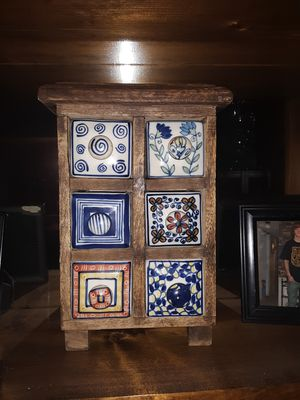 Accessories box - Pircelain drawers are handpainted & set in wooden box for Sale in Three Rivers, MI