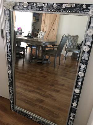 Huge espresso wood inspirational mirror for Sale in Fremont, CA
