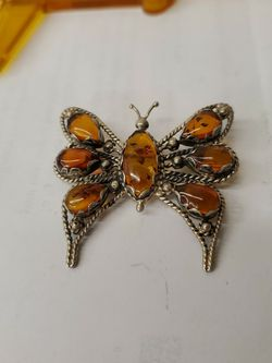 Amber Pin Brooch Sterling Silver for Sale in Cleveland,  OH