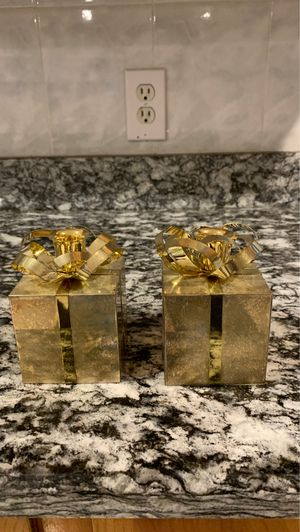 2 gold metal Xmas gift shaped 3x3 candle holders for Sale in Billerica, MA