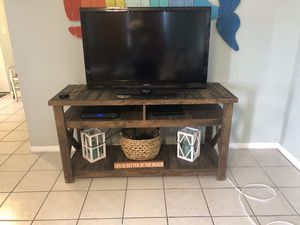 Rustic all wood media stand plus two end tables for Sale in Destin, FL