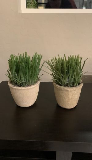 Two potted plants, synthetic grass home decor in clay pots. Modern home decor for Sale in Las Vegas, NV