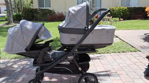 Stroller- PegPerego Team. single / double in one: 1 car seat, 2 stroller seats, bassinet, 2 car bases, stand, single and double attachment. for Sale in Boynton Beach, FL