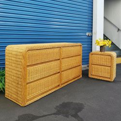 Vintage Wicker Waterfall Dresser and Nighstand for Sale in Los Angeles,  CA