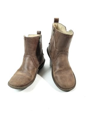 Ugg NEEVAH Brown Leather Shearling Short Boot US 8 EU 39 Side Zip 1004177 :J for Sale in Thornton, CO