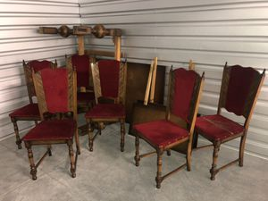 ANTIQUE LONG DINING TABLE W/ 6 CHAIRS for Sale in Tampa, FL