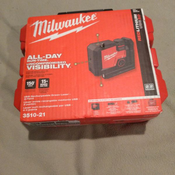 Milwaukee USB Rechargeable Green Laser 3-point