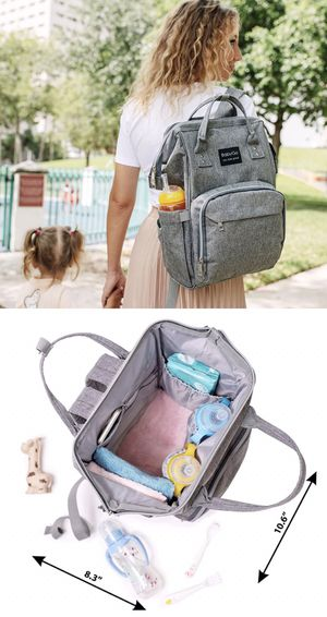 NEW BabyGo backpack waterproof travel diaper bag baby care grey color for Sale in Los Angeles, CA