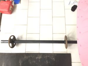 Weights with fat bar Curl bar can be used for a bench with weights presses and can also be used with your squat rack or other gym equipment great for for Sale in Coconut Creek, FL