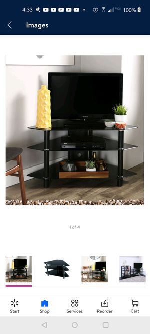 "Black Glass & Metal 44"" Corner TV Stand unopened for Sale in Waterbury, CT"