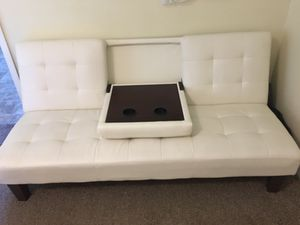 Off white futon couch leather for Sale in Winter Haven, FL