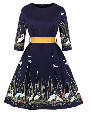 Vintage Floral 3/4 Sleeve Party Cocktail Swing Dress (size:small ) for Sale in McLean, VA