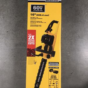 DEWALT 16 in. 60V MAX Lithium-Ion Cordless FLEXVOLT Brushless Chainsaw with (1) 2.0Ah Battery and Charger Included for Sale in Queens, NY