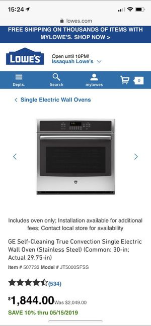 GE electric wall oven for Sale in Sammamish, WA