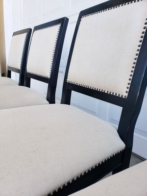 Beautiful Set of 6 Wood/Metal Nailstuds Belgium Linens Dining Chair Chairs for Sale in Monterey Park, CA